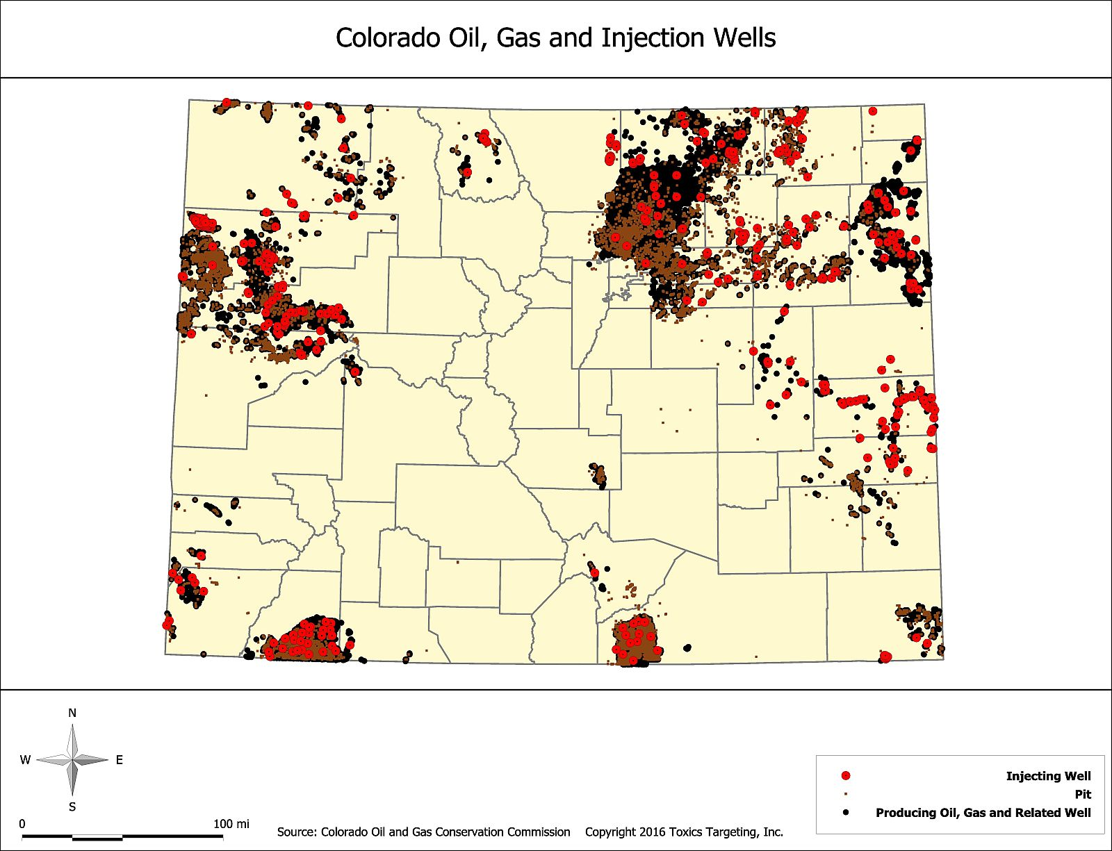 Selected States Oil, Gas and Injection Wells Maps | Toxics